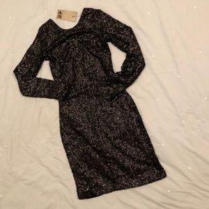 H&M Black Sequin Long-sleeved Dress